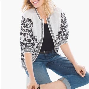 Chico's Embroidered Smocked Linen Jacket MP